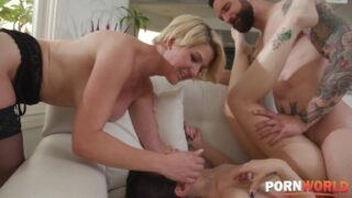 Blonde MILF Kit Mercer Fucked by Her Hubby and Pizza Delivery Babe HD